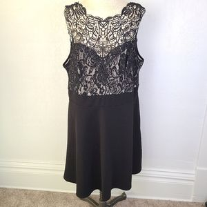 Love Squared Black Lace Top Fit and Flars Dress